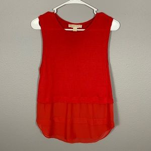 Michael Kors Red Sleeveless Sheer Bottom Tank Top